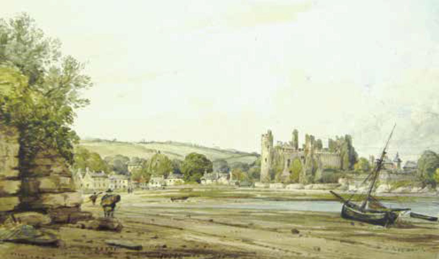 19th century view of Laugharne Castle, artist unknown. National Collection Wales