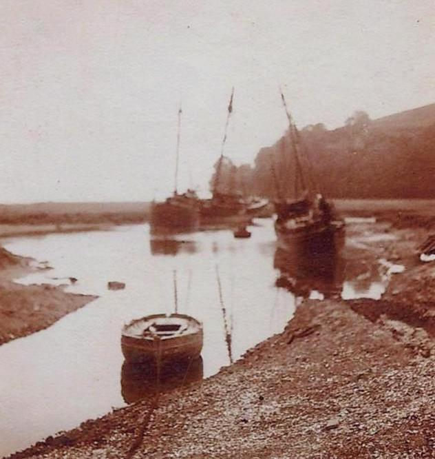 Sailing vessels moored at Laugharne circa 1880